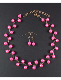 Simple Plum Red Bead Decorated Jewelry Set