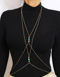 Vintage Gold Color Multi-layer Design Pure Color Body Chain