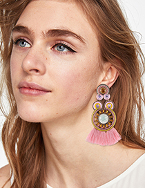 Fashion Pink Circular Ring Decorated Tassel Earrings