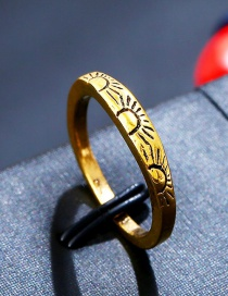 Fashion Antique Gold Sun Pattern Decorated Pure Color Ring