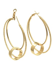 Elegant Gold Color Circular Ring Decorated Pure Color Earrings