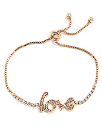Lovely Gold Color Letter Love Decorated Adjustable Bracelet