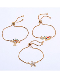 Lovely Gold Color Tree&starfish Decorated Simple Bracelet(3pcs)