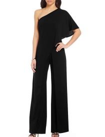 Fashion Black Pure Color Decorated Jumpsuit