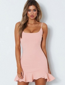 Fashion Pink Pure Color Decorated Dress