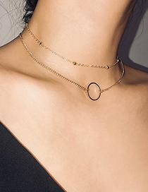 Fashion Gold Color Mult-layer Deisgn Pure Color Necklace