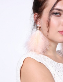 Fashion Light Pink Feather Shape Decorated Earrings