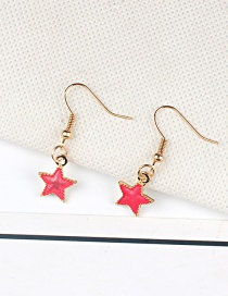 Fashion Red Star Shape Decorated Pure Color Earrings