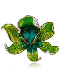 Fashion Green Flower Shape Decorated Brooch