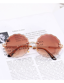 Fashion Coffee Flower Shape Decorated Sunglasses