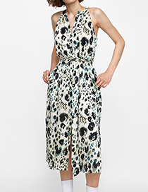 Fashion Black+white Flower Pattern Decorated Dress