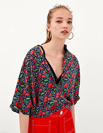Fashion Red Apple Pattern Decorated Shirt