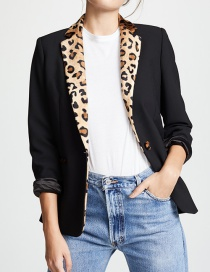 Fashion Black Leopard Pattern Decorated Long Sleeves Coat