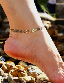 Elegant Gold Color V Shape Decorated Pure Color Anklet