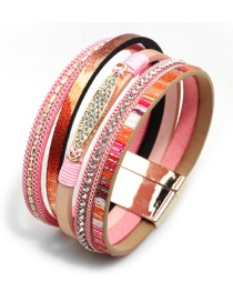 Vintage Pink Multi-layer Design Magnetic Bracelet