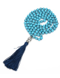 Fashion Blue Tassel&beads Decorated Long Necklace