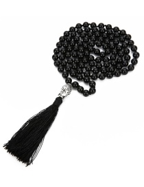 Fashion Black Pure Color Design Tassel Necklace