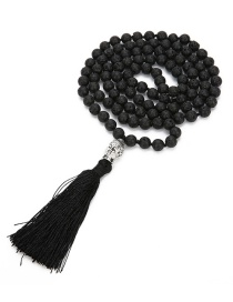 Fashion Black Beads Decorated Pure Color Tassel Necklace