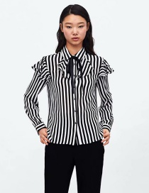 Fashion White+black Stripe Pattern Decorated Simple Smock