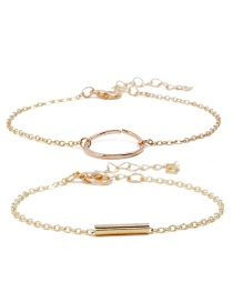 Fashion Gold Color Circular Ring Decorated Pure Color Bracelet(2pcs)