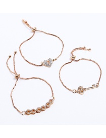 Fashion Gold Color Key&heart Shape Decorated Bracelet(3pcs)