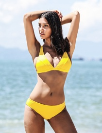 Sexy Yellow Pure Color Design Simple Bikini