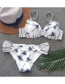 Sexy White Coconut Tree Decorated Split Bikini