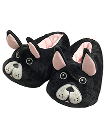 Lovely Black Dog Shape Design Thickened Shoes(for Child )