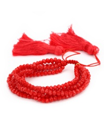 Fashion Red Tassel&beads Decorated Pure Color Bracelet