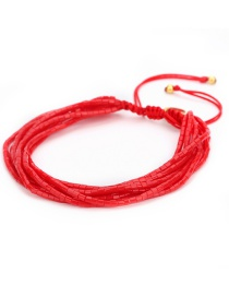 Fashion Red Multi-layer Design Pure Color Bracelet