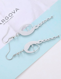 Sweet Silver Color Gril Shape Design Pure Color Earrings