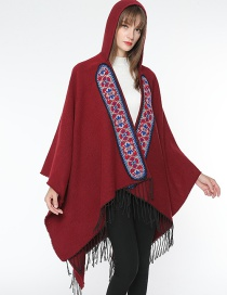 Fashion Claret Red Tassel Decorated Flower Pattern Cloak