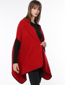 Fashion Red Pure Color Decorated Scarf