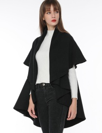 Fashion Black Pure Color Decorated Cloak