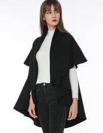 Fashion Black Pure Color Decorated Cloak