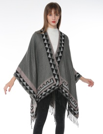 Fashion Gray Geometric Pattern Decorated Tassel Scarf