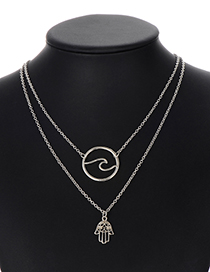 Fashion Silver Color Palm Shape Decorated Necklace