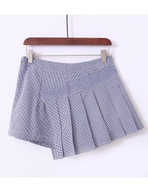 Fashion Blue Grids Pattern Decorated Skirt