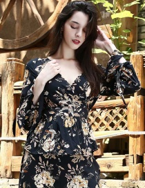 Fashion Black Flower Pattern Decorated Long Sleeves Shirt