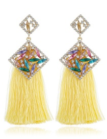Fashion Yellow Geometric Shape Decorated Tassel Earrings