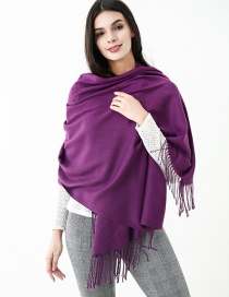 Fashion Purple Pure Color Decorated Scarf