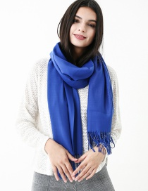 Fashion Sapphire Blue Pure Color Decorated Scarf