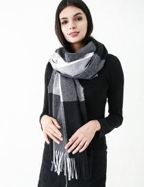 Fashion Black Grids Pattern Decorated Scarf