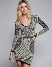 Fashion Gray Geometric Pattern Decorated Long Sleeves Dress