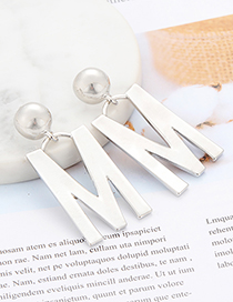 Fashion Silver Color Letter M Shape Decorated Earrings