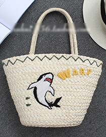 Fashion Beige Dolphin Pattern Decorated Bag