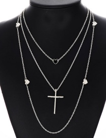 Fashion Silver Color Cross Shape Decorated Necklace