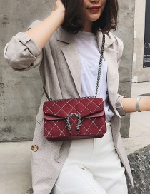 Fashion Claret Red Grids Pattern Decorated Bag