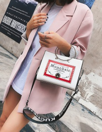 Fashion White Letter Pattern Decorated Bag