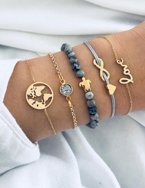 Fashion Gold Color Letter Shape Decorated Bracelet (5 Pcs )